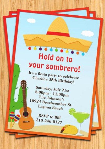 Fiesta Party Invitation Template Lovely Fiesta sombrero Party Invitation