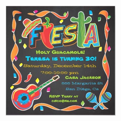 Fiesta Party Invitation Template Unique Mexican Fiesta Party Invitation On Blackboard