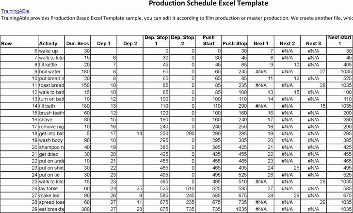 Film Production Schedule Template Awesome Production Schedule Template