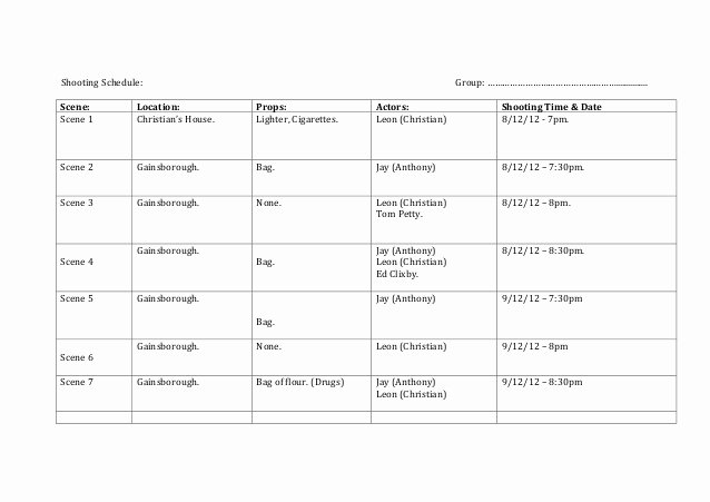 Film Production Schedule Template Awesome Shooting Schedule Template 1 638 – Media Stu S