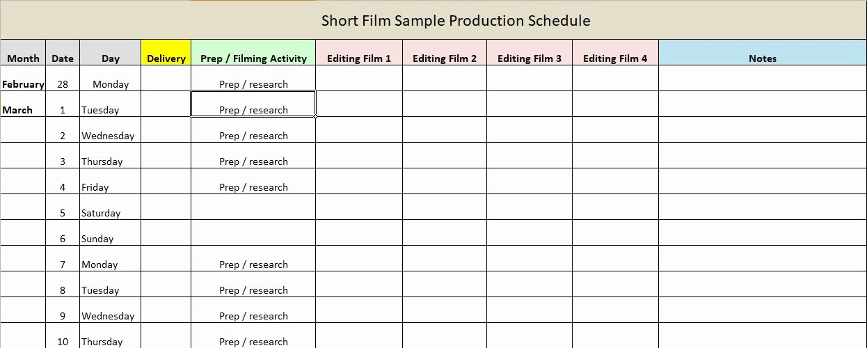 Film Production Schedule Template Elegant Production Schedule Template Excel & Word Excel Tmp