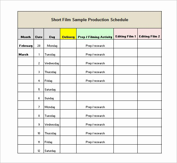 Film Production Schedule Template Inspirational 15 Production Schedule Templates Pdf Doc