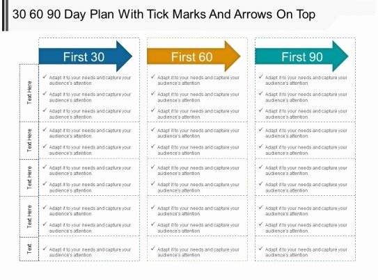 First 90 Days Plan Template Awesome 30 60 90 Day Plan with Tick Marks and Arrows top