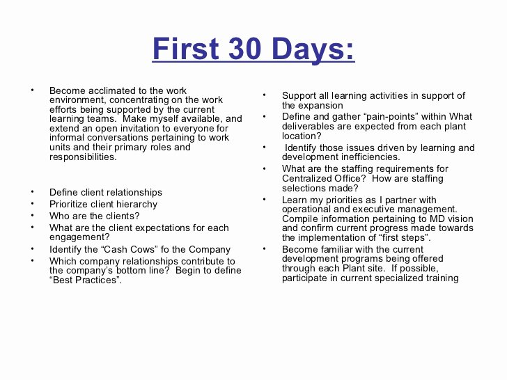 First 90 Days Plan Template Best Of 30 60 90 Days Plan to Meet Goals for New organization