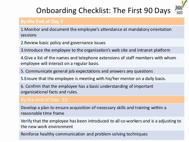 First 90 Days Plan Template Fresh Boarding Checklist the First 90 Daysby the End Of Day