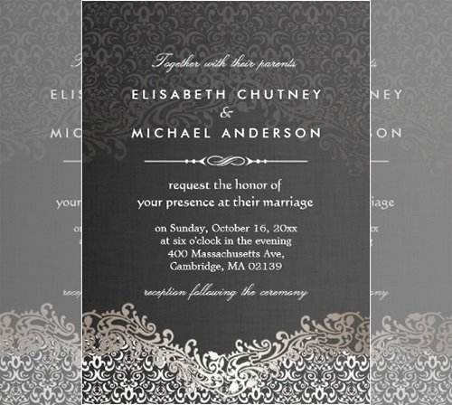 Formal event Invitation Template Awesome Download Free software Black and White Damask Website
