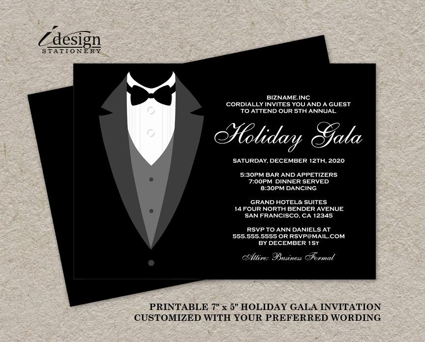 Formal event Invitation Template Awesome Holiday Gala Invitation