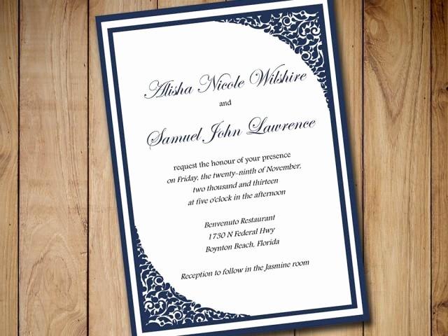 Formal Invitation Template Free New Printable Wedding Invitation Template Download Dark Navy