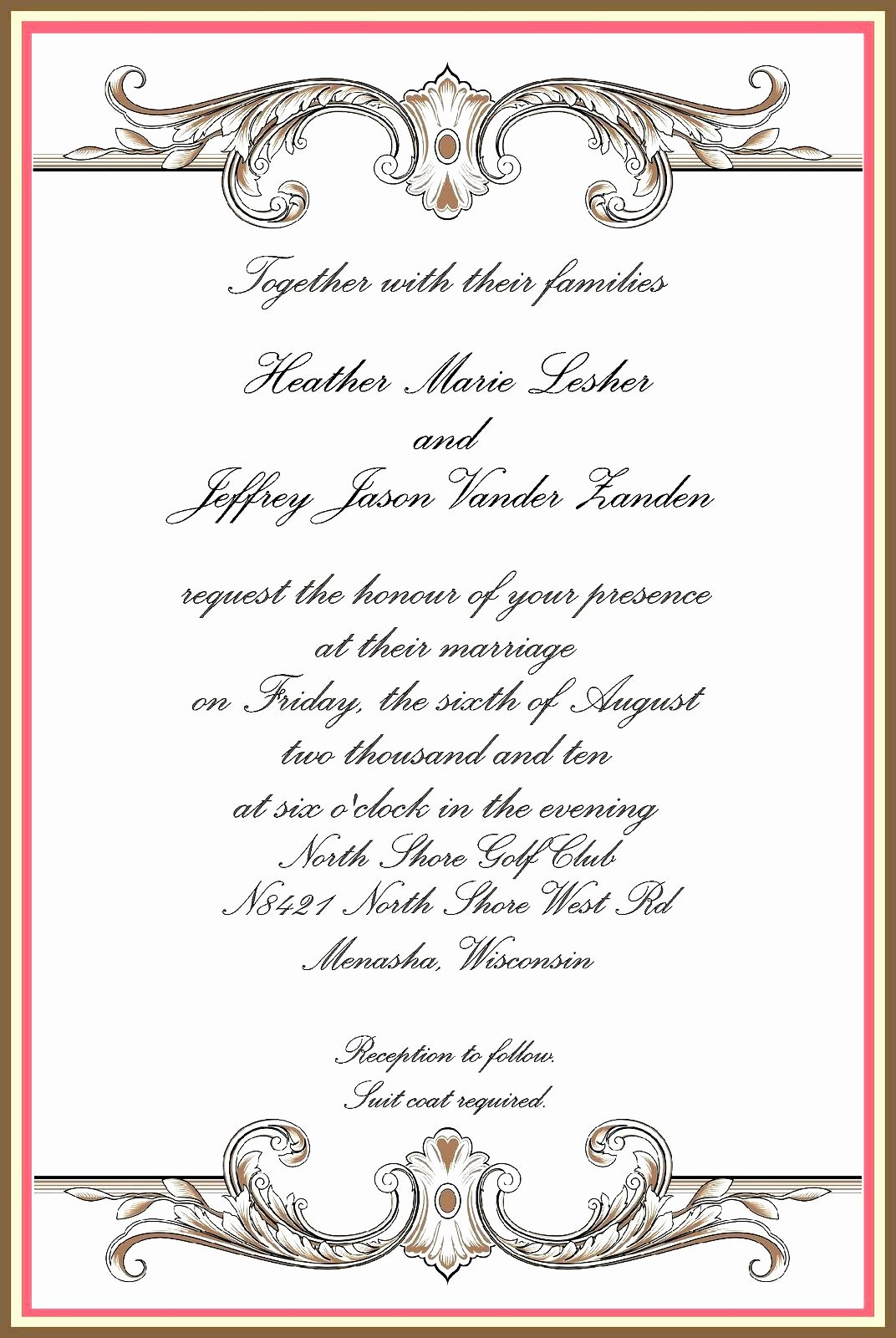 Formal Invite Template Free Inspirational formal Invitation Templates Free