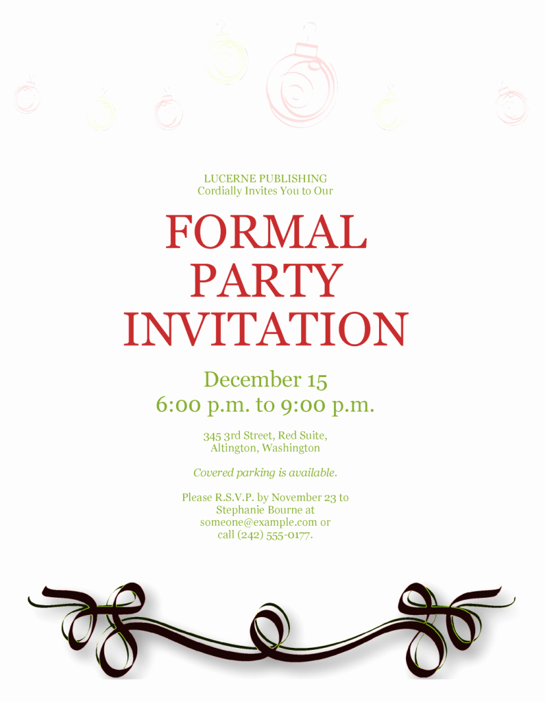 Formal Invite Template Free Inspirational formal Party Invitation Template