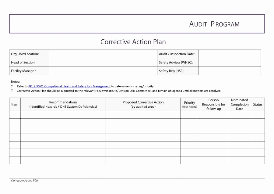 Free Action Plan Template New 45 Free Action Plan Templates Corrective Emergency