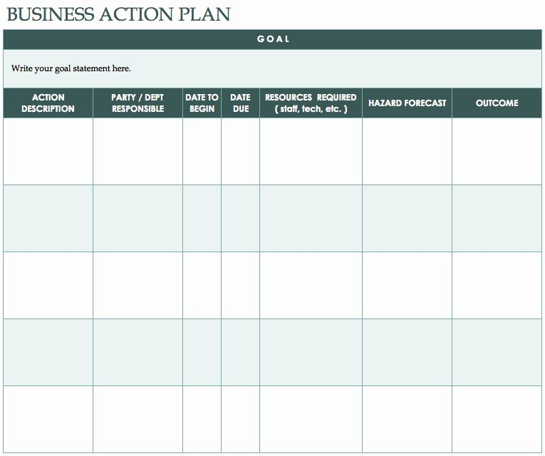 Free Action Plan Template Unique Nice Design Template Of Business Action Plan Table form