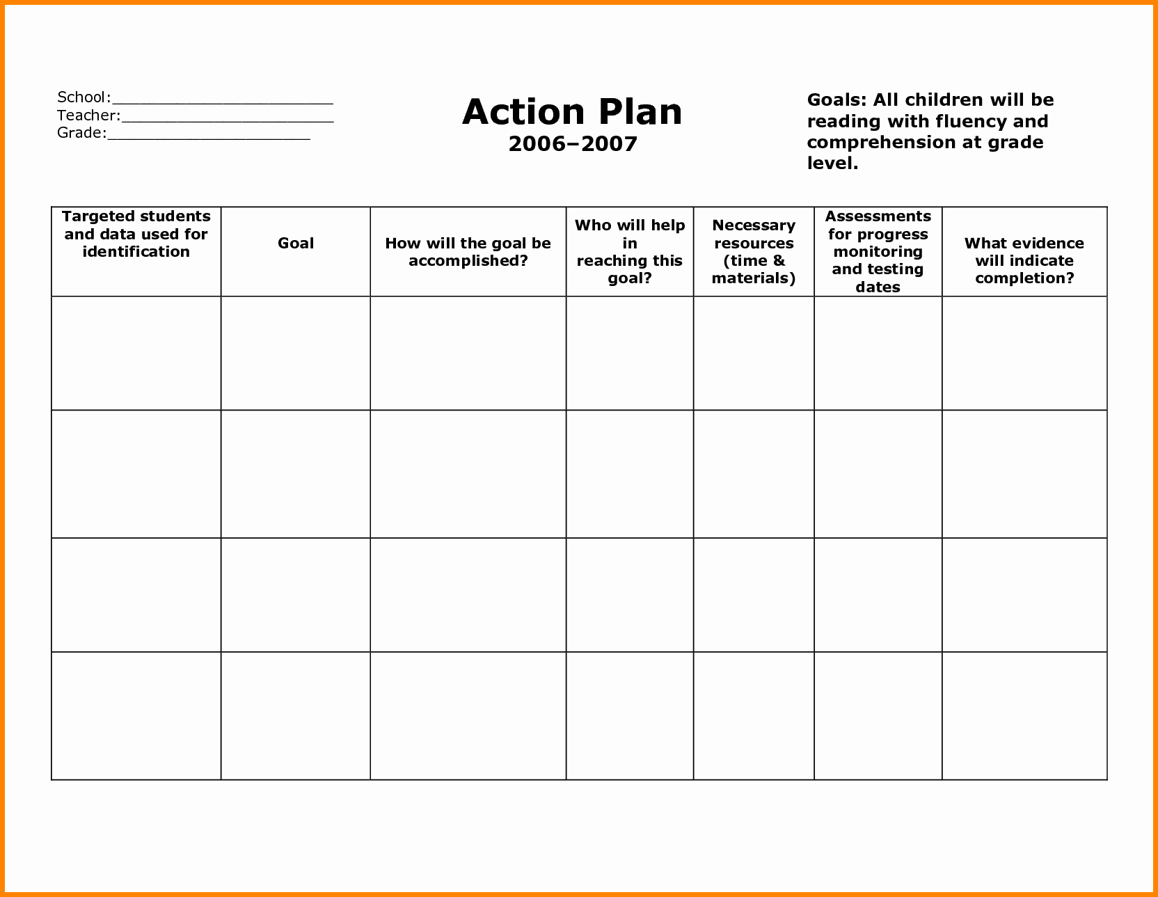 Free Action Plan Template Unique Stunning General Action Plan Template Word Examples Thogati