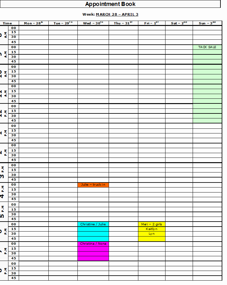 Free Appointment Schedule Template Awesome Free Printable Appointment Book
