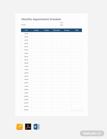 Free Appointment Schedule Template Elegant Free Monthly Appointment Schedule Template Pdf