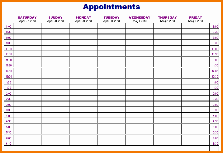 Free Appointment Schedule Template Luxury Appointment Book Templates