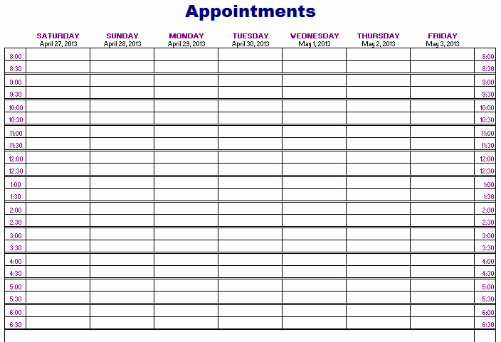 Free Appointment Schedule Template New Importance Of Appointment Schedule Small Business