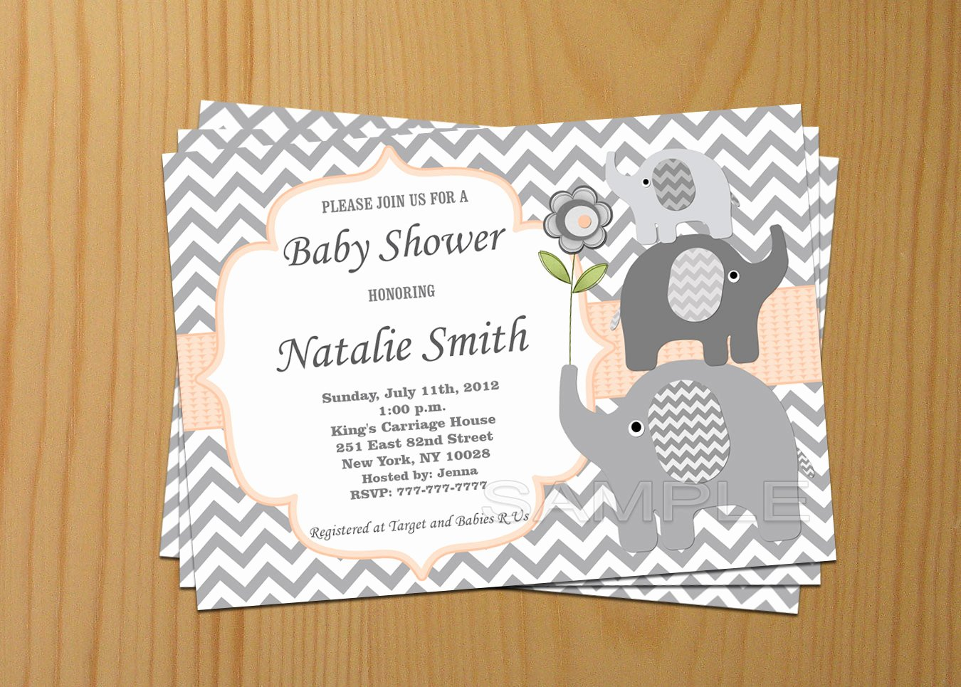 Free Baby Invitation Template Awesome Editable Baby Shower Invitation Elephant Baby Shower