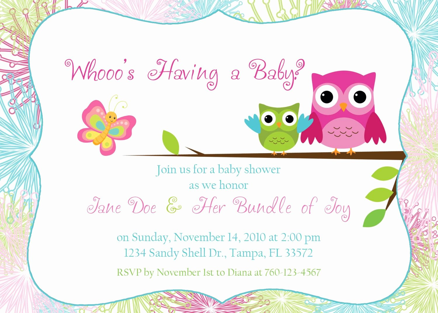 Free Baby Invitation Template Unique Owl Baby Shower Invitation by Designsbyoccasion On Etsy