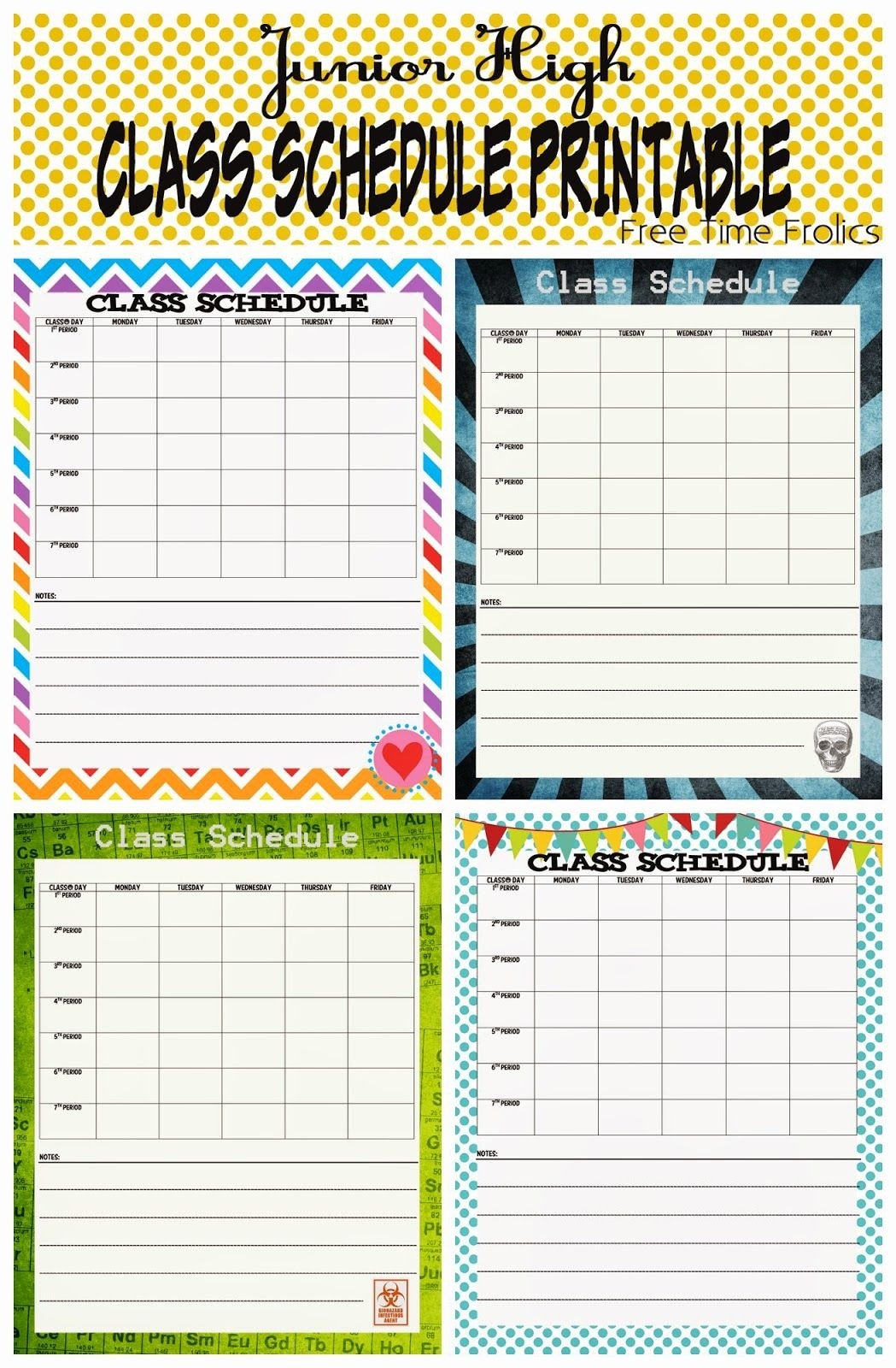 Free Class Schedule Template Beautiful Junior High Class Schedule Printable