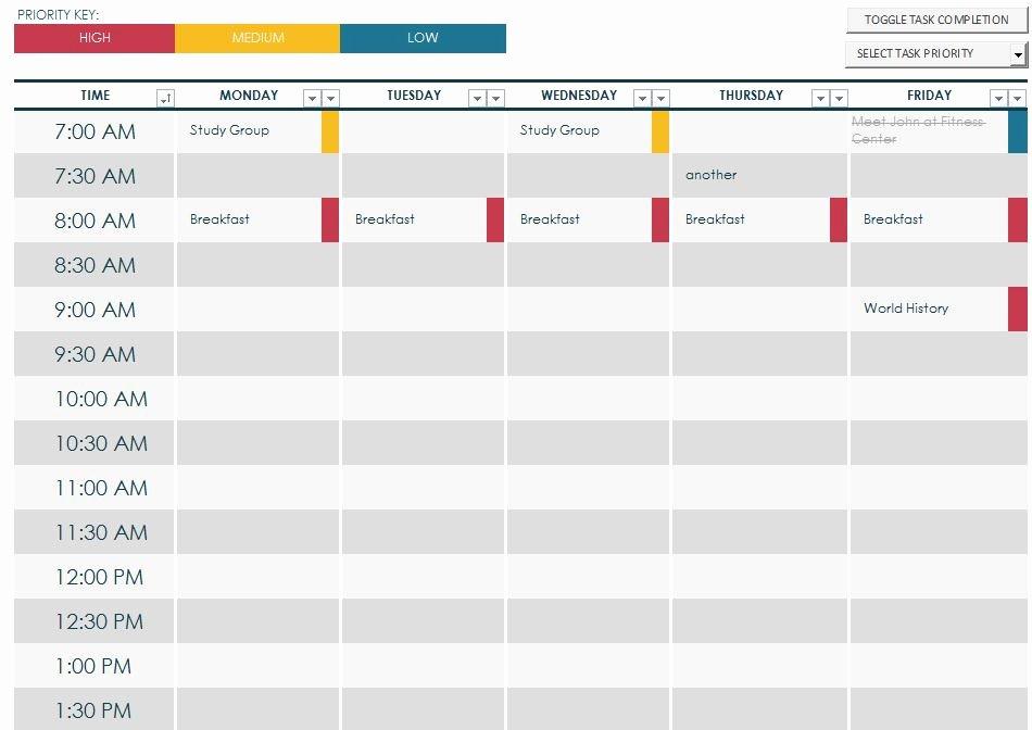 Free Class Schedule Template Beautiful Weekly Schedule Maker