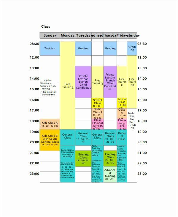 Free Class Schedule Template Best Of Excel Class Schedule Templates 8 Free Word Excel Pdf