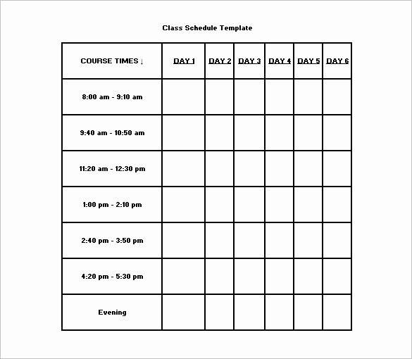 Free Class Schedule Template Inspirational College Class Schedule Template