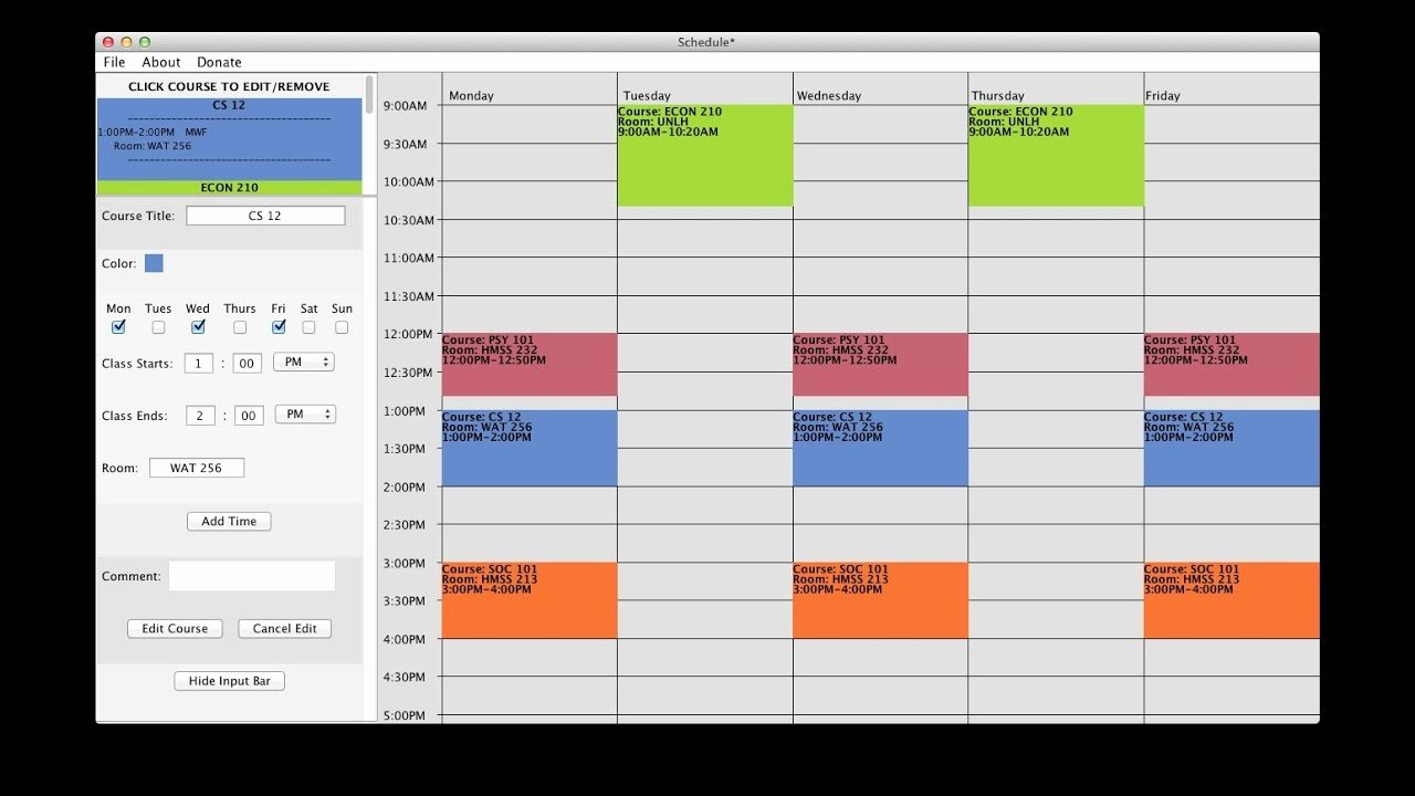 Free Class Schedule Template Inspirational Free College Schedule Maker Builder Link In Description