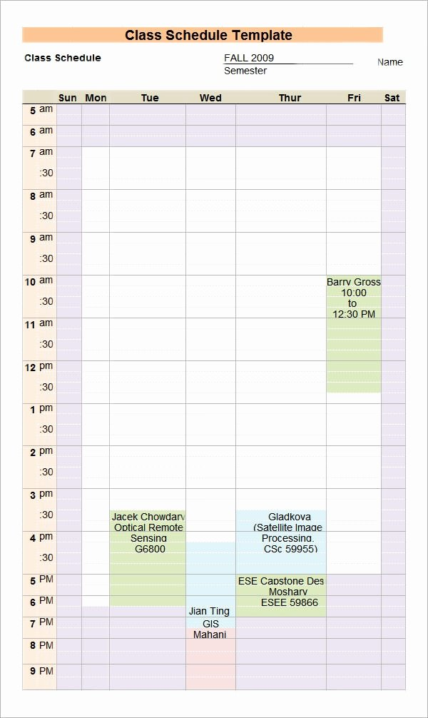 Free Class Schedule Template Lovely Class Schedule Template 6 Download Free Documents In