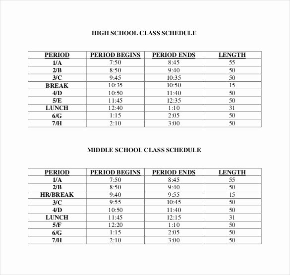 Free Class Schedule Template Luxury Class Schedule Template 36 Free Word Excel Documents