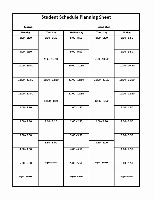 Free Class Schedule Template Unique College organizer Planner – Free Printable Links