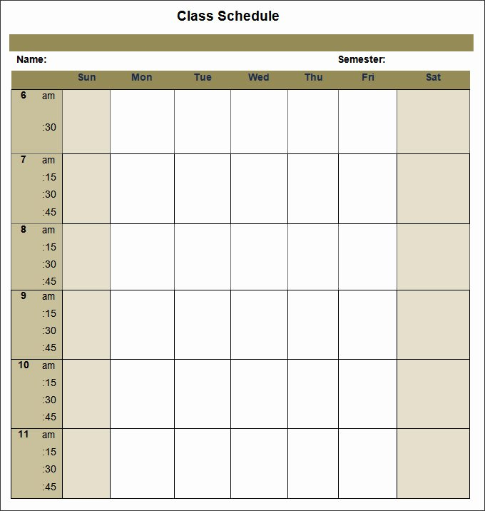 Free Class Schedule Template Unique College Schedule Template 12 Free Word Excel Pdf