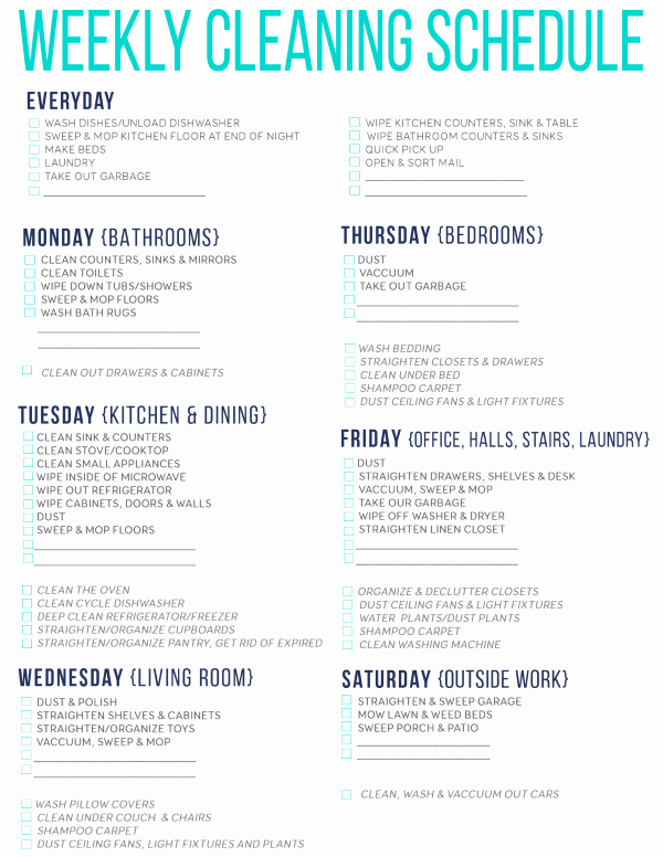 Free Cleaning Schedule Template Awesome Editable Cleaning Schedule Template