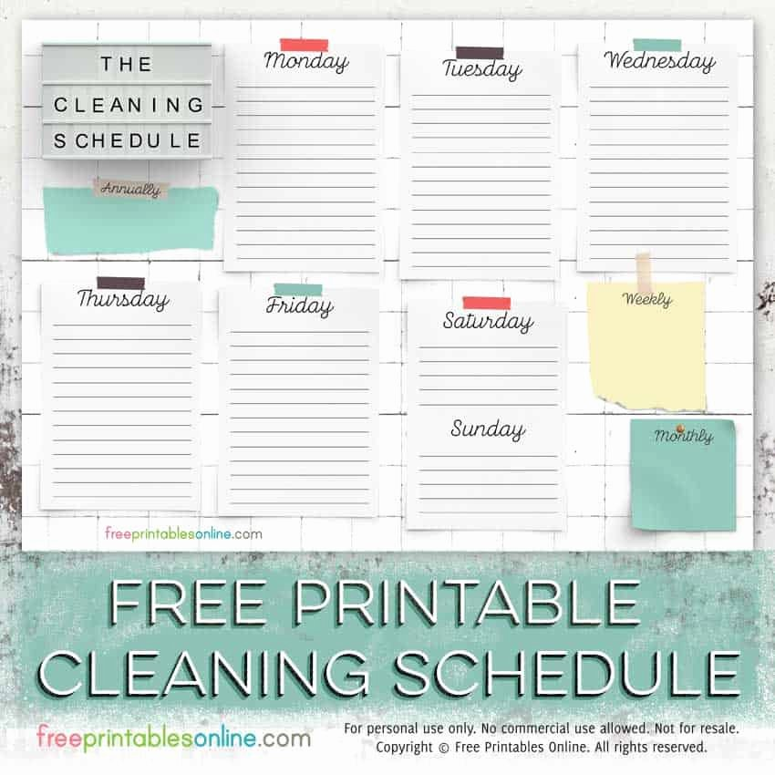 Free Cleaning Schedule Template Best Of Free Printable Cleaning Schedule Template Free