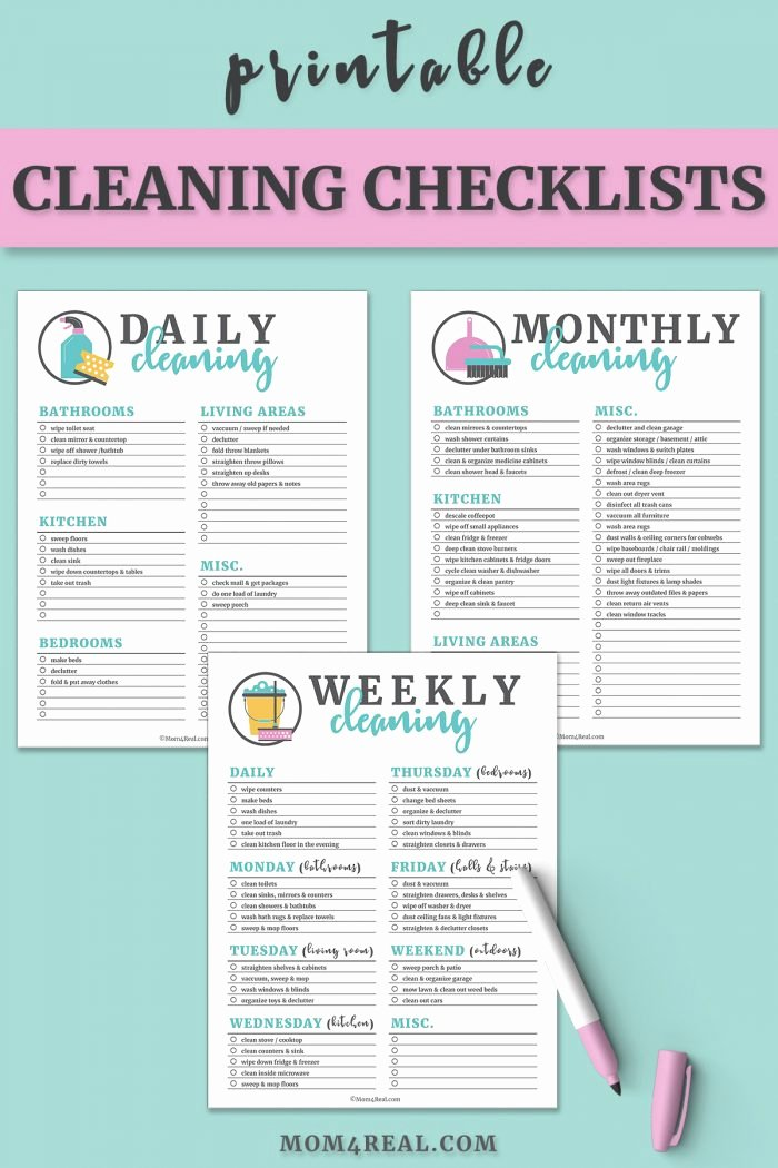 Free Cleaning Schedule Template Fresh Printable Cleaning Checklists for Daily Weekly and