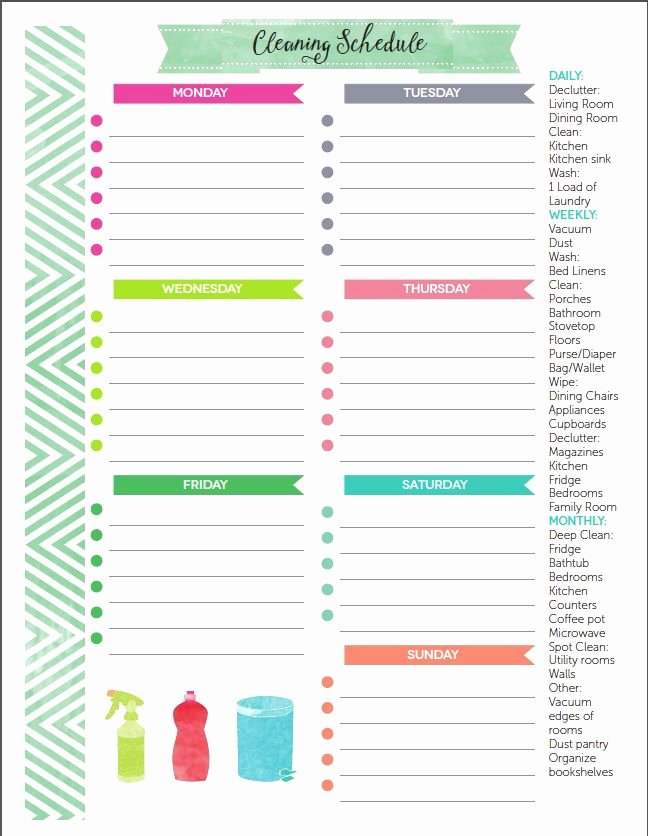 Free Cleaning Schedule Template Luxury the Best Free Printable Cleaning Checklists
