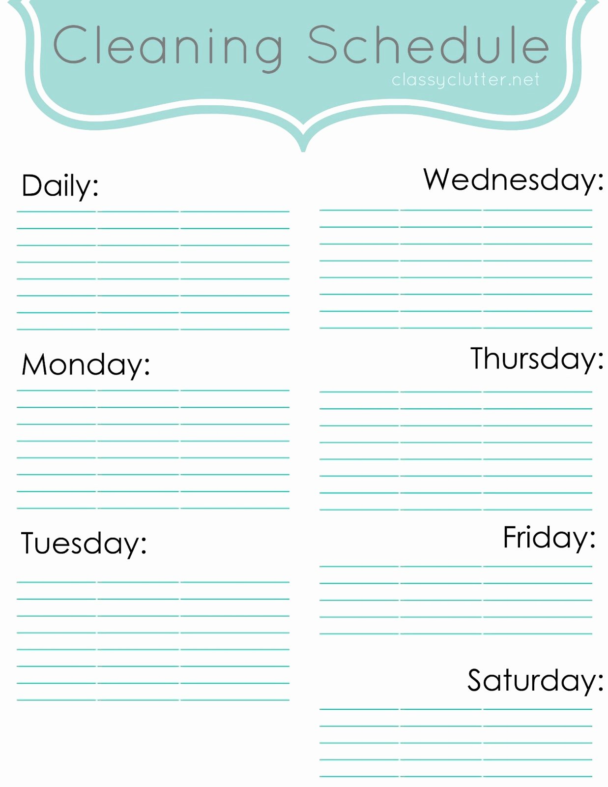 Free Cleaning Schedule Template Luxury Weekly Cleaning Schedule Improve Your Cleaning Habits