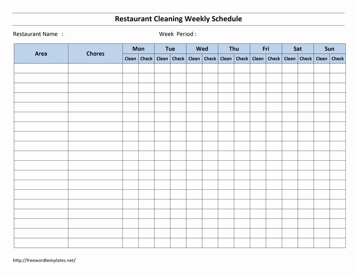 Free Cleaning Schedule Template New Cleaning Schedule Template