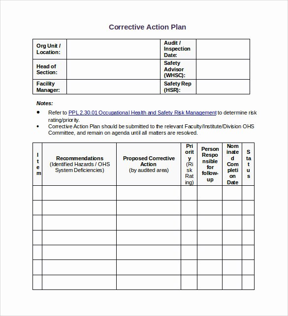 Free Corrective Action Plan Template Unique Sample Corrective Action Plan Template 9 Documents In