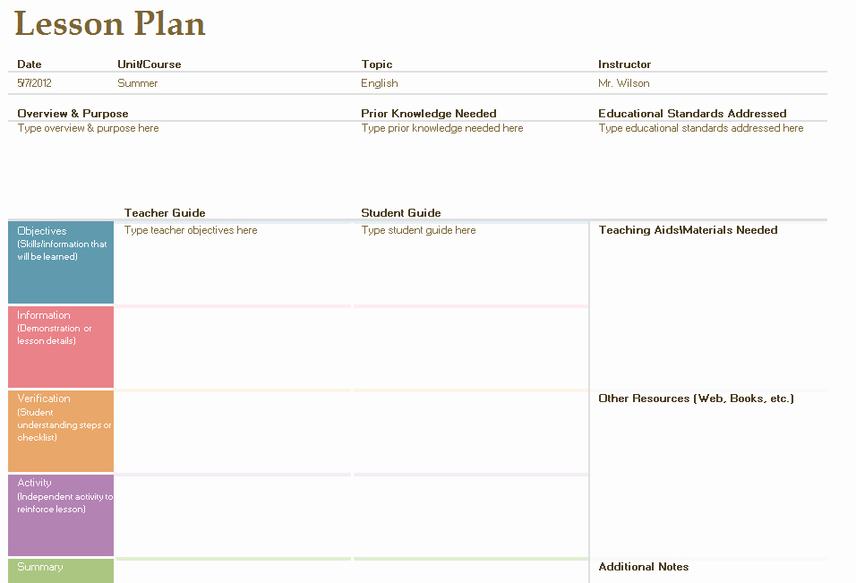 Free Daily Lesson Plan Template Elegant Daily Lesson Plan Template