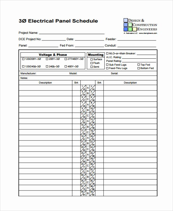 Free Electrical Panel Schedule Template Best Of Download Electrical Circuit Breaker Panel Label Template