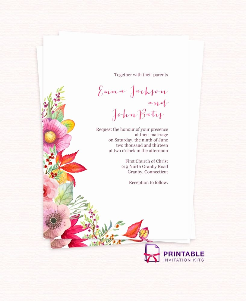 Free Email Invitations Template Luxury Free Pdf Download Autumn Blooms Wedding Invitation for