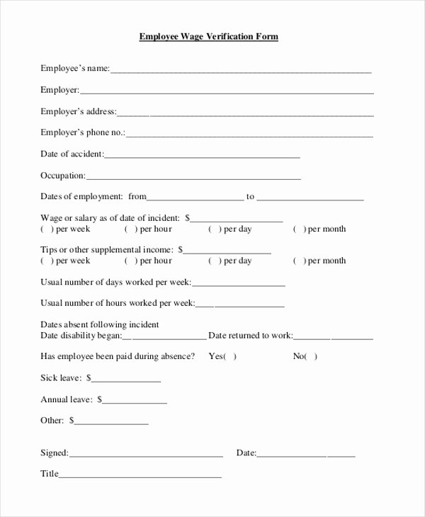 Free Employee Verification form Template Best Of Free 9 Sample Wage Verification forms