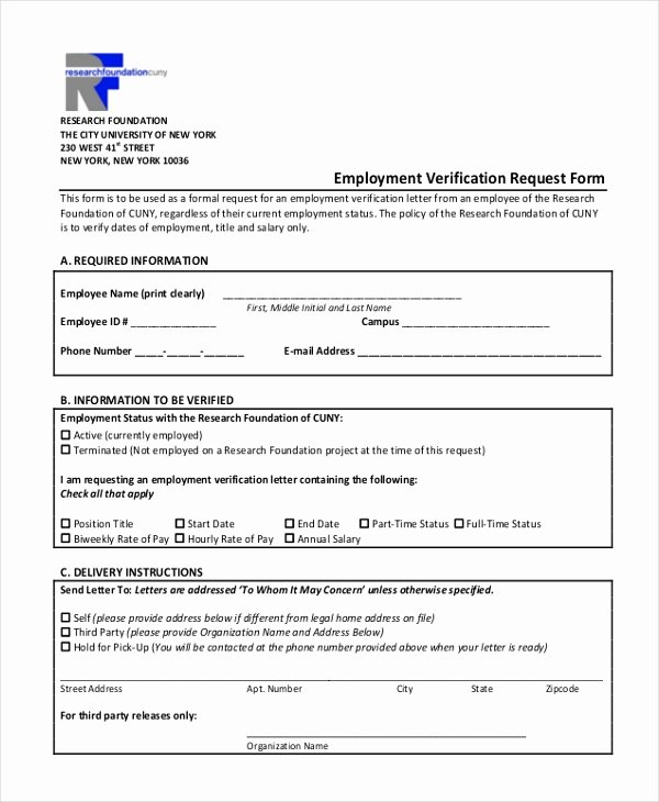 Free Employee Verification form Template Elegant Free 13 Sample Employment Verification forms