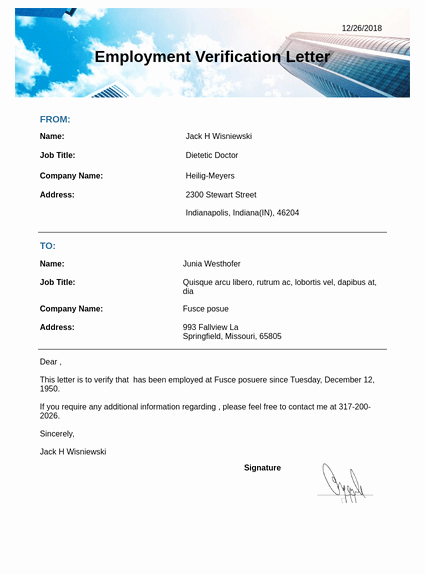 Free Employee Verification form Template Lovely Employment Verification Letter Template Pdf Templates