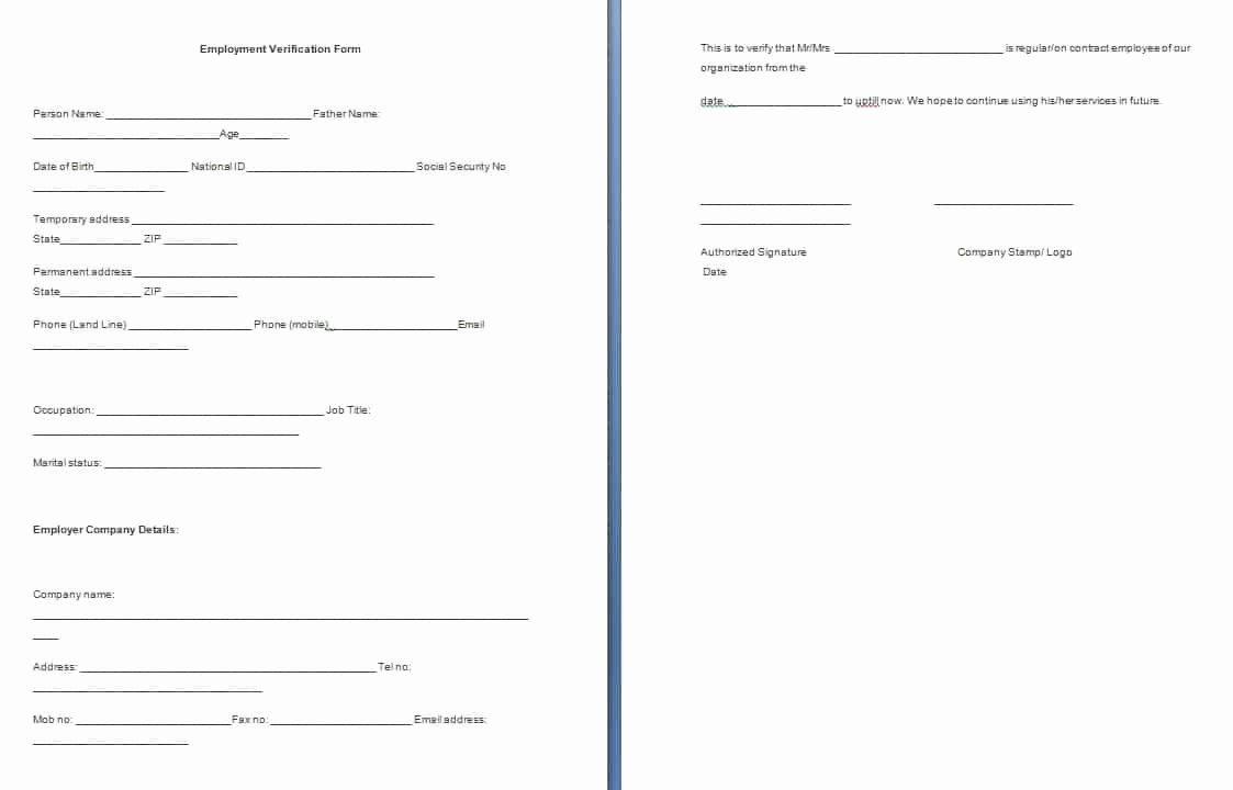 Free Employee Verification form Template New Employment Verification form Template – Sample Templates