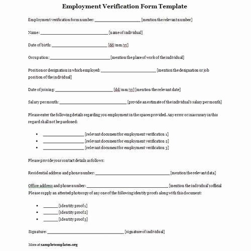 Free Employee Verification form Template Unique Employment Verification form In New Delhi Janakpuri by