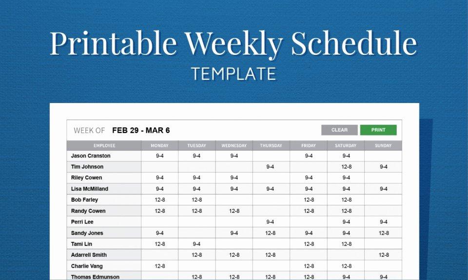 Free Employee Work Schedule Template Beautiful 017 Free Weekly Employee Work Schedule Template Printable