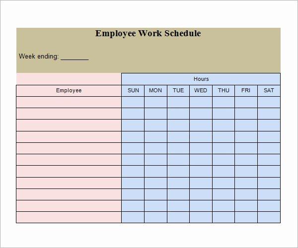 Free Employee Work Schedule Template Inspirational Free 26 Samples Of Work Schedule Templates In Google Docs