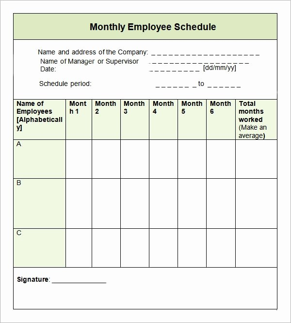 Free Employee Work Schedule Template Lovely Sample Monthly Schedule Template 8 Free Documents In